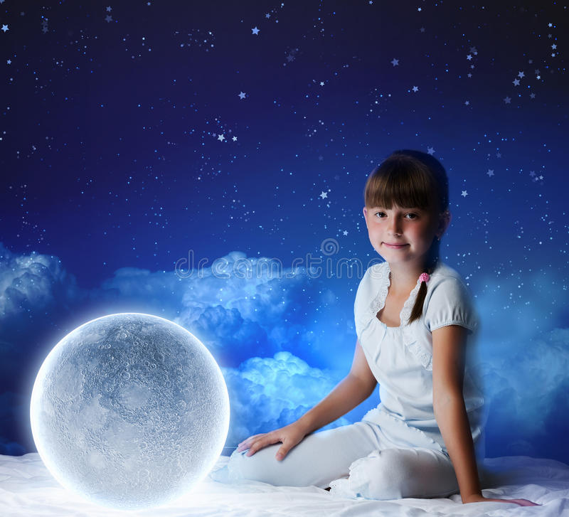 Download Night dreaming stock image. Image of dream, child, female - 38546189