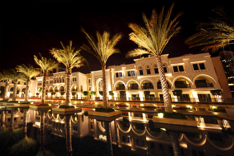 Night Dubai street with palms and pool. United Arab Emirates royalty free stock photos
