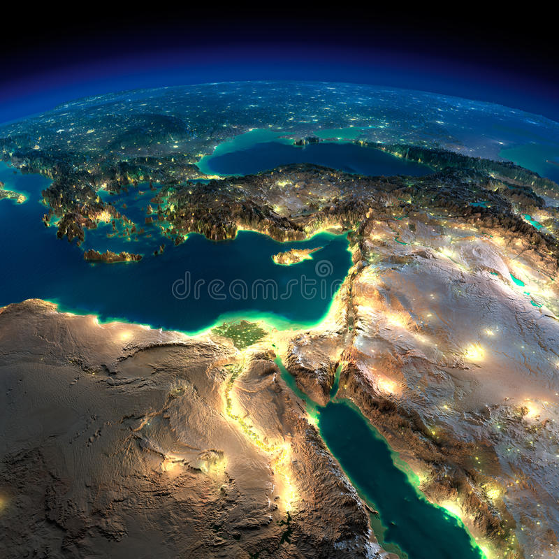Night Earth. Africa and Middle East. Highly detailed Earth, illuminated by moonlight. The glow of cities sheds light on the detailed exaggerated terrain. Night