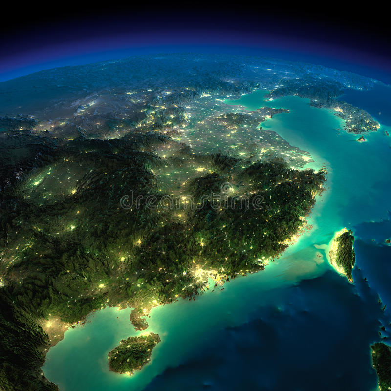 Night Earth. Eastern China and Taiwan stock illustration