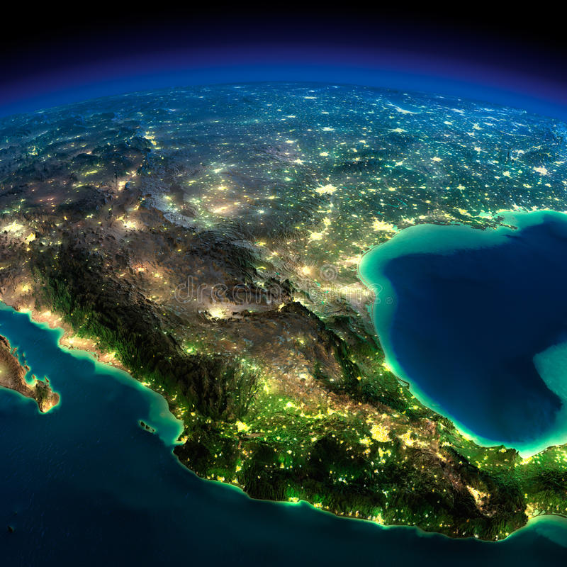 Night Earth. A piece of North America - Mexico stock illustration