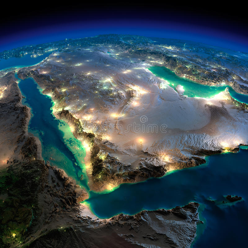 Night Earth. Saudi Arabia. Highly detailed Earth, illuminated by moonlight. The glow of cities sheds light on the detailed exaggerated terrain. Night Earth