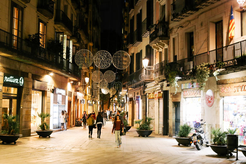 Night in El Born, Barcelona stock images