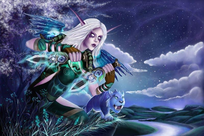 Ночная эльфийка - разбойница, питомец, вов, персонаж из игры варкрафт royalty free stock photography