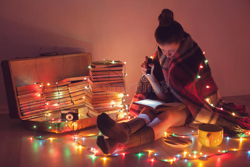 Night exciting reading royalty free stock images