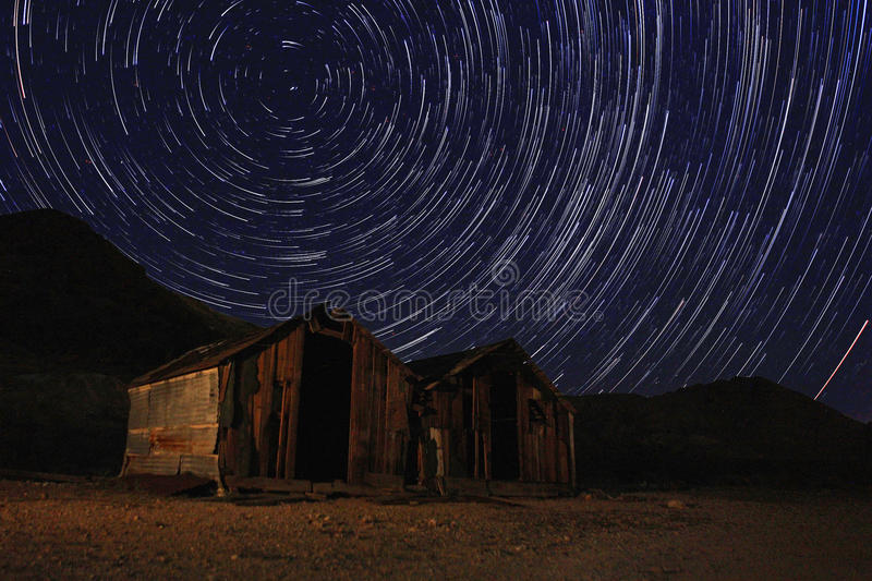 Night Exposure Star Trails of the Sky in Death Valley California stock photo