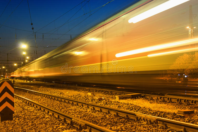 Night express train. In Hungary stock photo