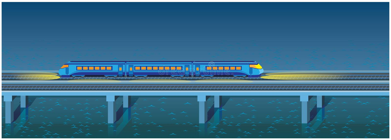 Night express train royalty free illustration