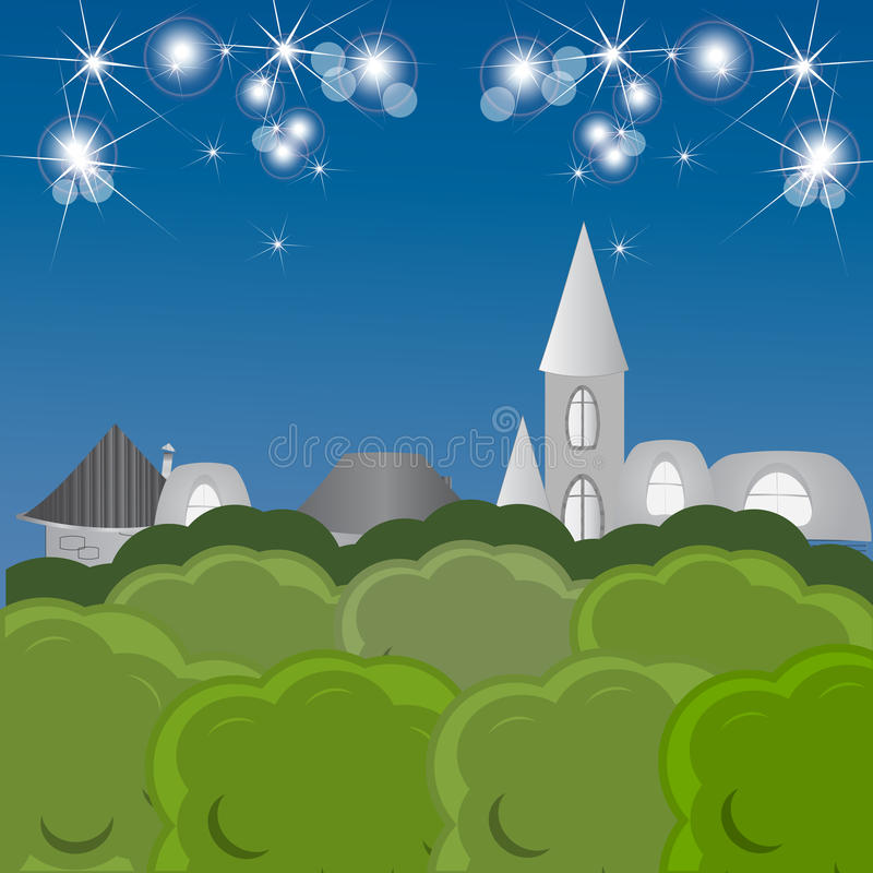 Night fairy tale town vector illustration