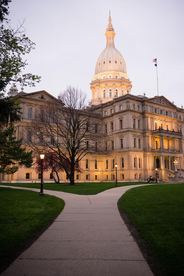 Night Falls Capital Building Lansing Michigan Downtown City Skyline. The lights come up on the capital building in Lansing royalty free stock photo