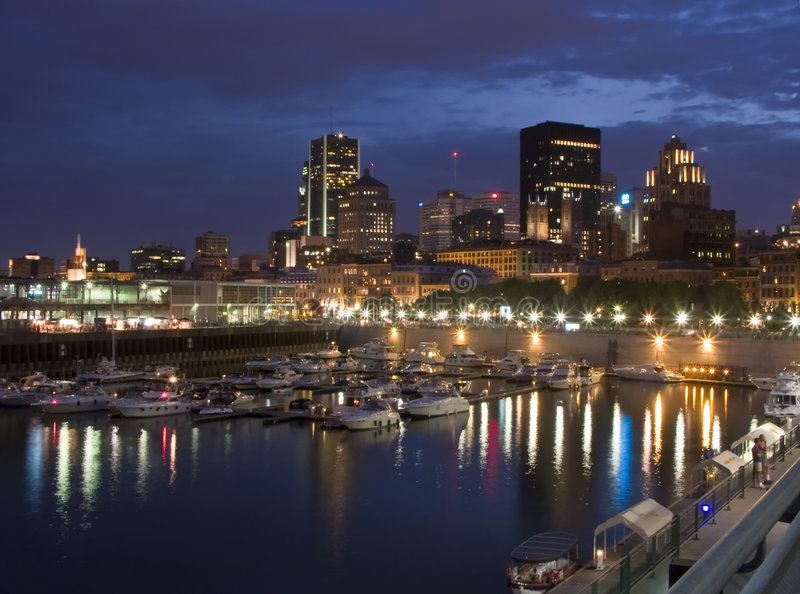 Night falls over Montreal skyline stock photo