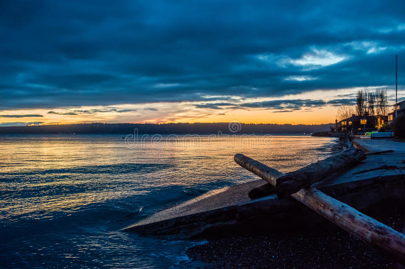 Night Falls On The Puget Sound. The sun is setting behind the Puget Sound in Washington State royalty free stock photos