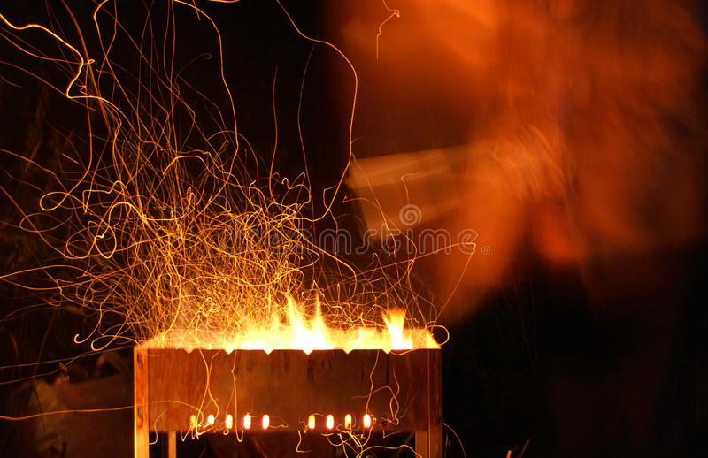 Night fire barbecue royalty free stock images