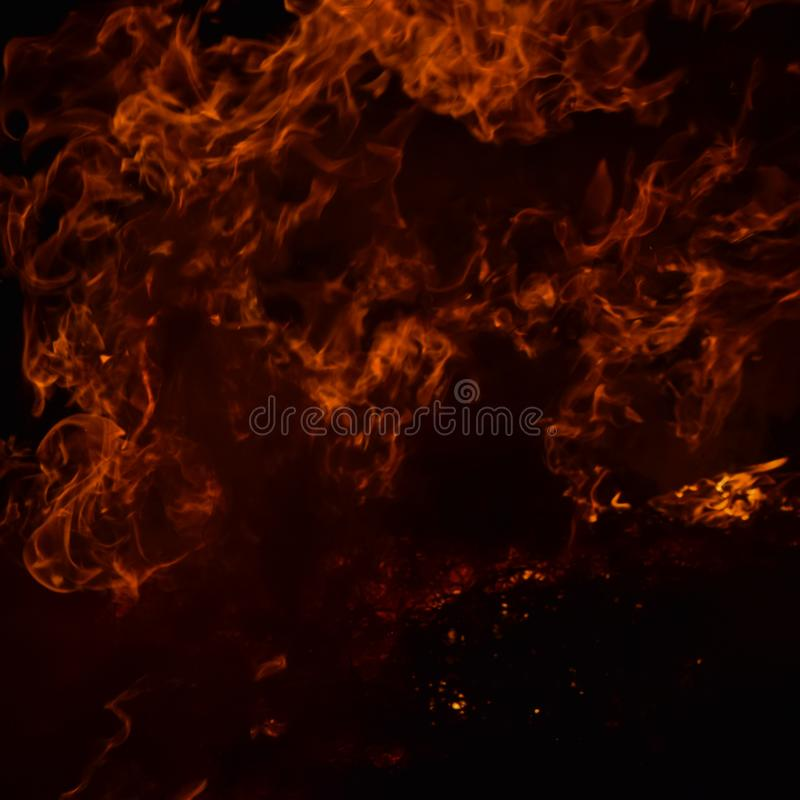 The night fire. Night fire. Burning of rice straw at night stock photos
