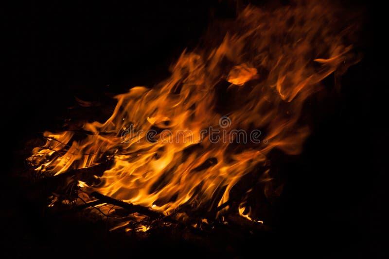 Night fire closeup. Flame of night fire closeup stock photo