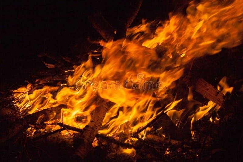 Night fire closeup. Flame of night fire closeup royalty free stock photos