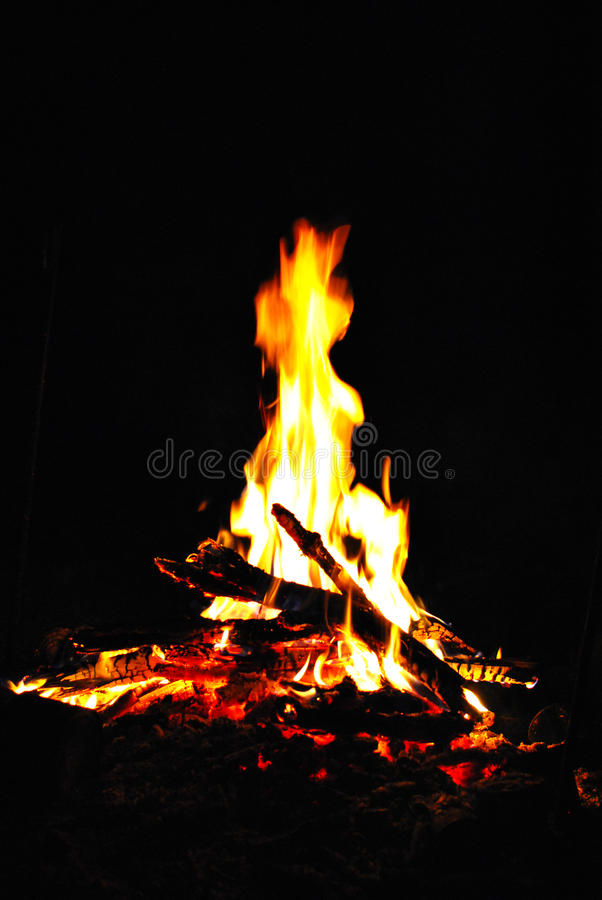 Night fire / fire in the open air stock photography