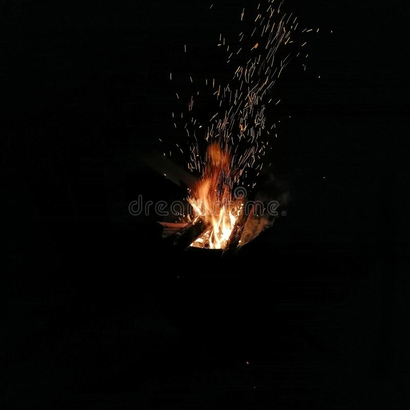 Night fire. Heat bonfire sparks royalty free stock images