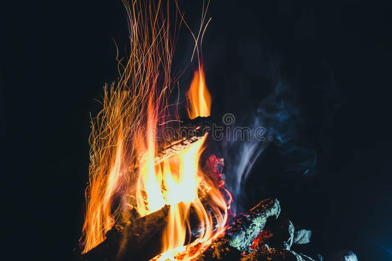 Night fire 4. The night fire plays with the tongues of flame royalty free stock image