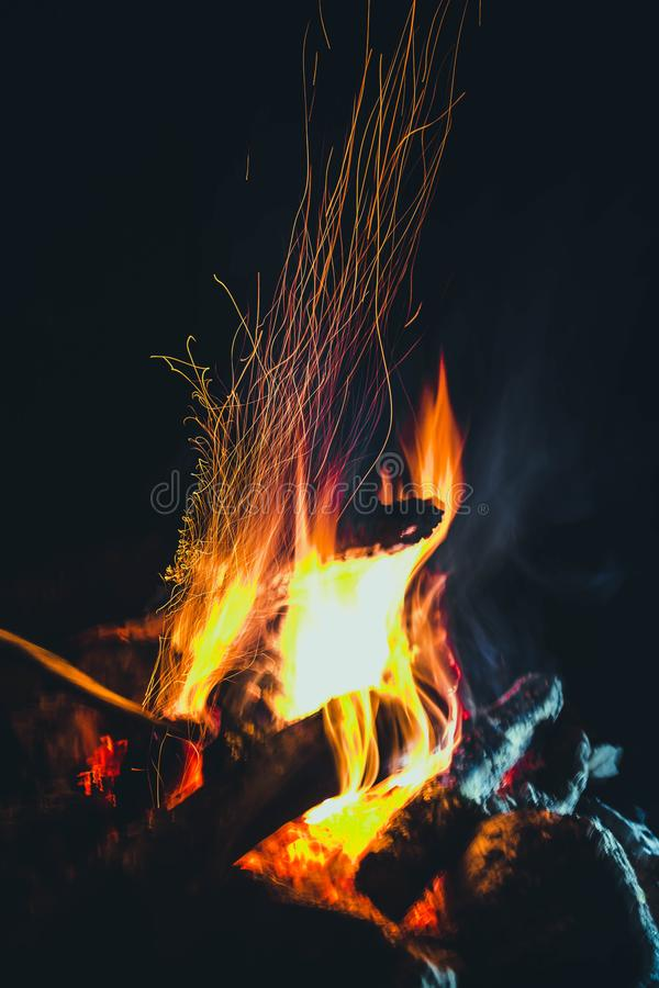 Night fire 3. The night fire plays with the tongues of flame royalty free stock images