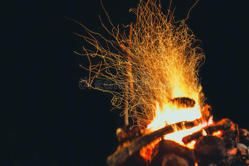 Night fire. The night fire plays with the tongues of flame stock images