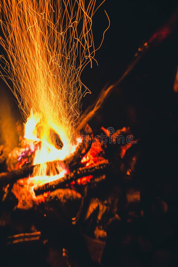 Night fire 2. The night fire plays with the tongues of flame royalty free stock photos