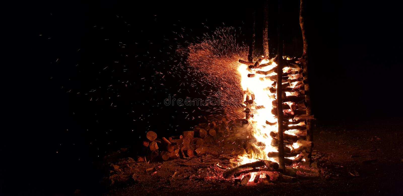 Night Firewood royalty free stock photos