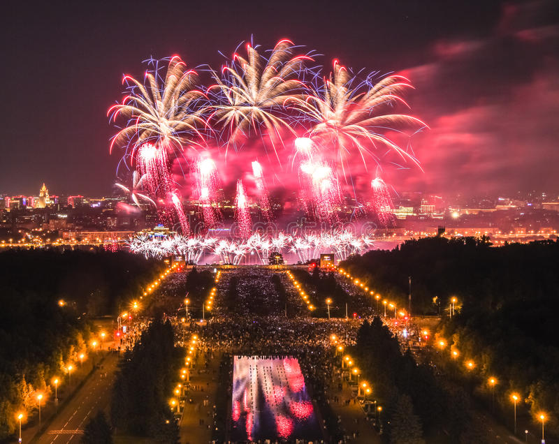 Night firework festival in Moscow royalty free stock photos