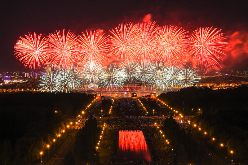 Night firework festival in Moscow royalty free stock image