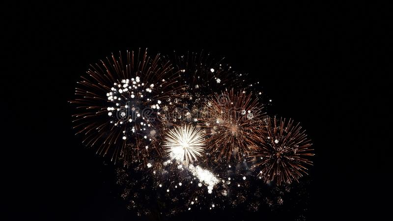 Night of fireworks stock photo