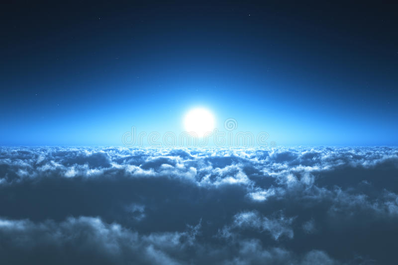 Night flight above the clouds stock images
