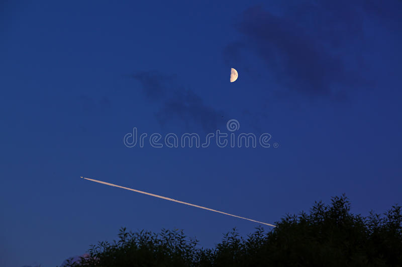 Night flight under the moon royalty free stock photography
