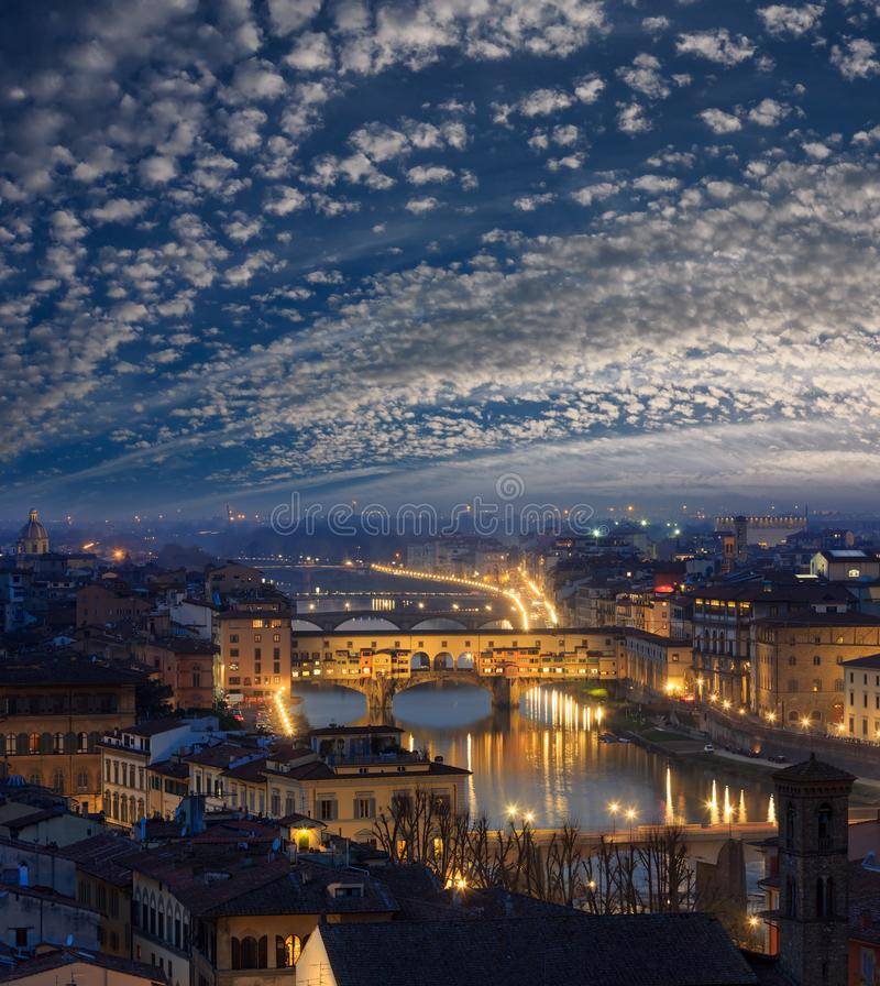 Night Florence top view, Italy. Night Florence City top view Italy, Tuscany on Arno river royalty free stock photo