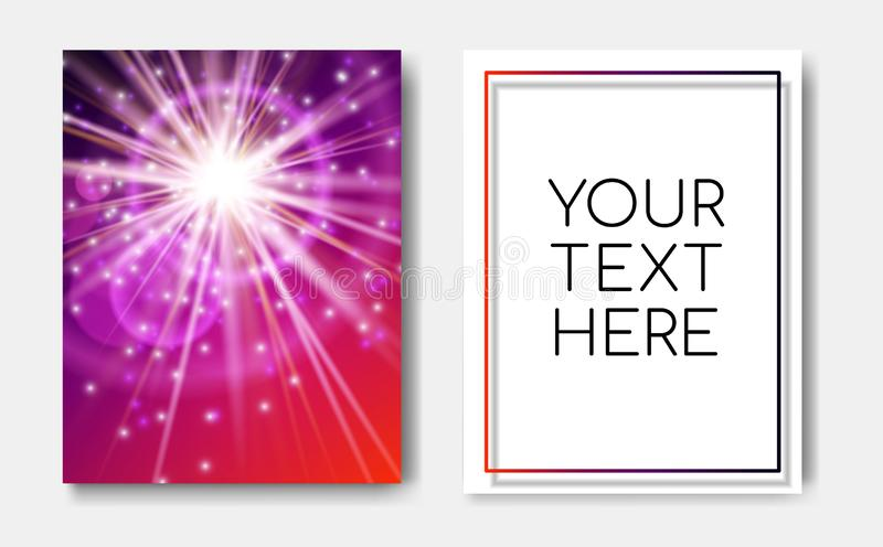 Night flyers banner with Sparks glitter glowing,star burst explosion glow and lens flare on blue red background.Show royalty free illustration