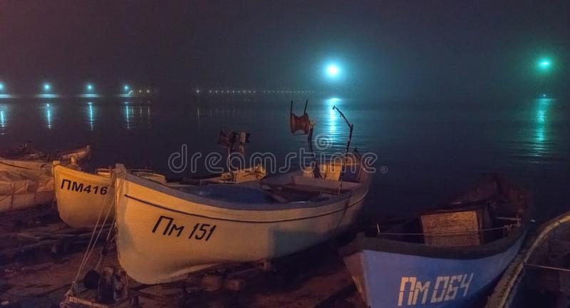 Night, fog, Pomorie in Bulgaria royalty free stock image
