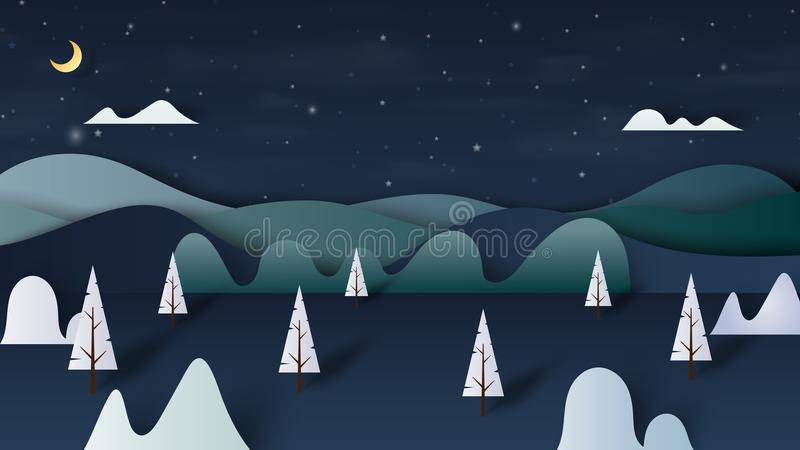 Night forest nature landscape scenery banner background paper ar stock illustration