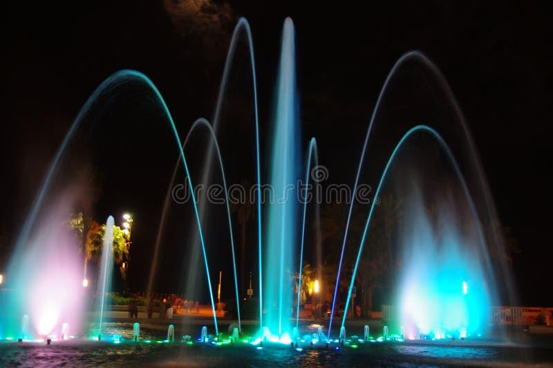 Night Fountain. Fountain by night in salou spain stock photos