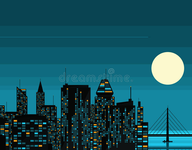 Night futuristic city with big moon stock illustration