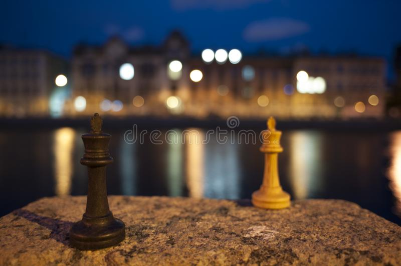 Night game of chess. Russia, St. Petersburg stock photo