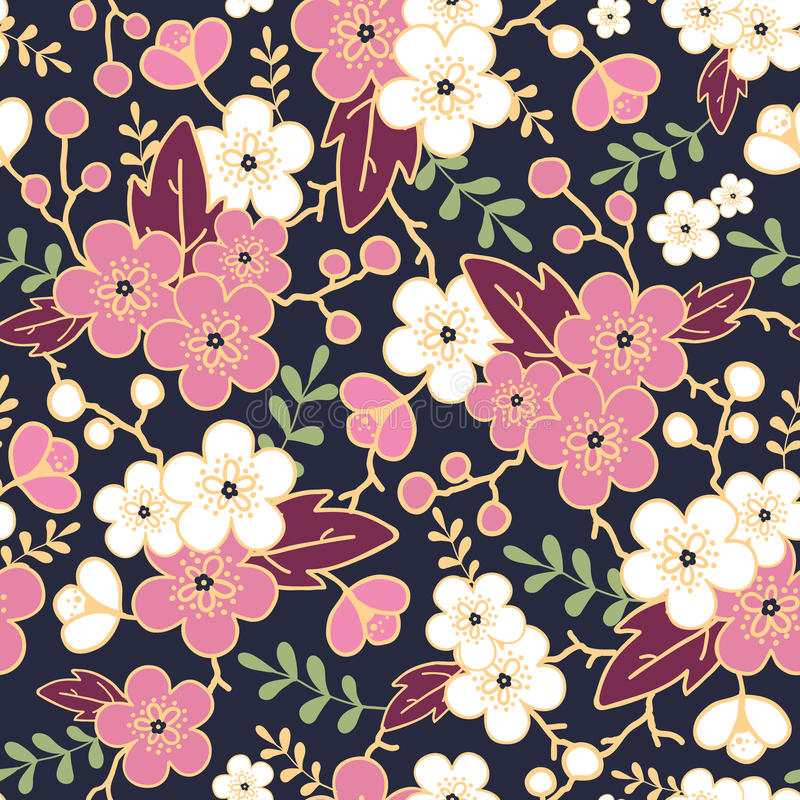 Night garden sakura blossoms seamless pattern royalty free illustration