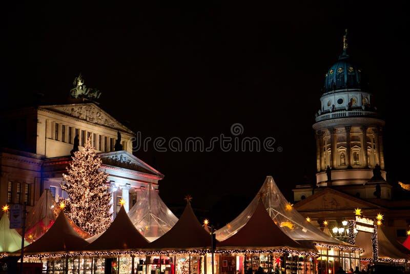 Night at Gendarmenmarkt. With christmas fair royalty free stock image