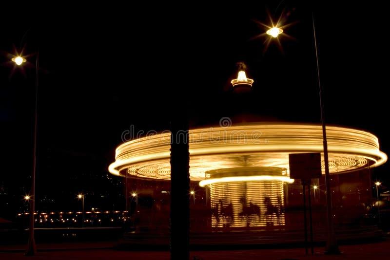 Night in Genova Italy. Carousel at night in Porto antico, Genova Italy royalty free stock images