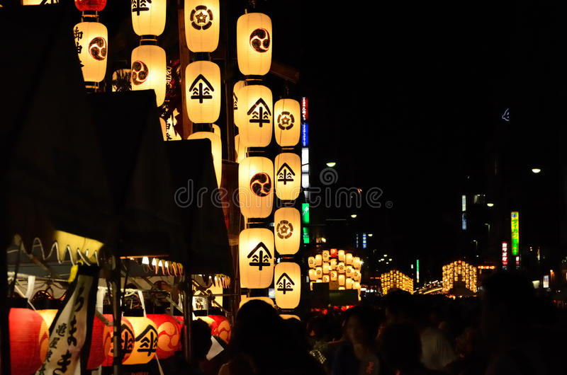 Night of gion festival in kyoto, japan royalty free stock photography