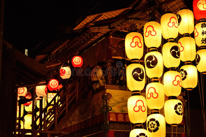 Night of gion festival in kyoto, japan stock image