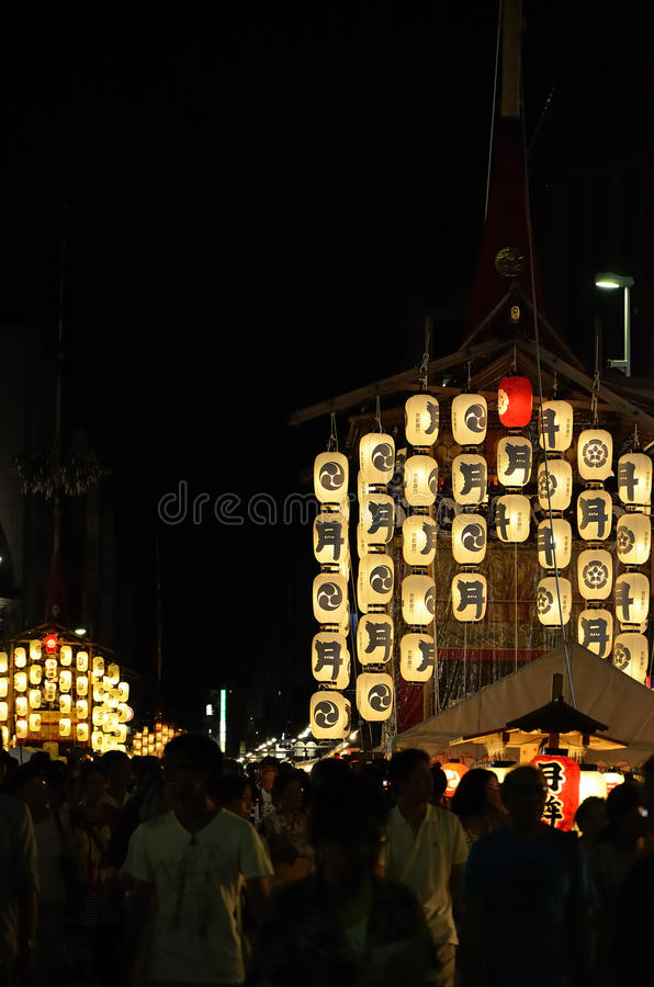 Night of Gion festival, Kyoto Japan summer. Famous and traditional festival of Gion, held in Kyoto July, every float is illuminated by many paper lanterns after stock photography
