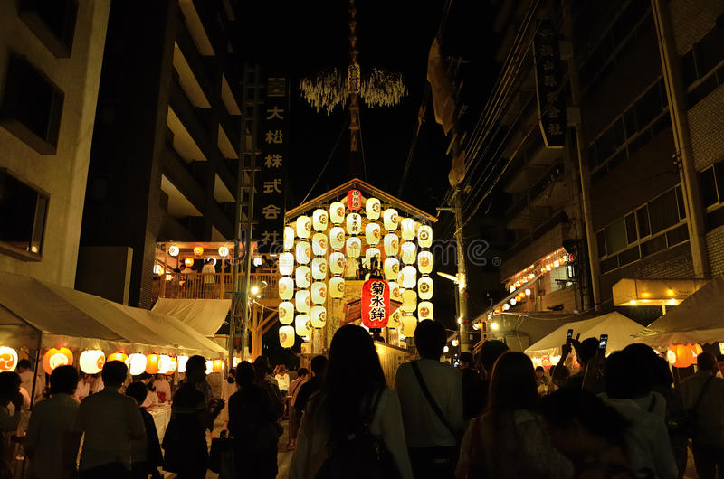 Night of Gion festival, Kyoto Japan summer. Famous and traditional festival of Gion, held in Kyoto July, every float is illuminated by many paper lanterns after royalty free stock photos