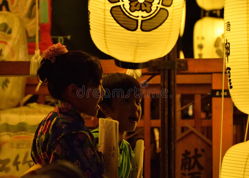 Night of Gion festival, Kyoto Japan summer. Famous and traditional festival of Gion, held in Kyoto July, every float is illuminated by many paper lanterns after stock photos