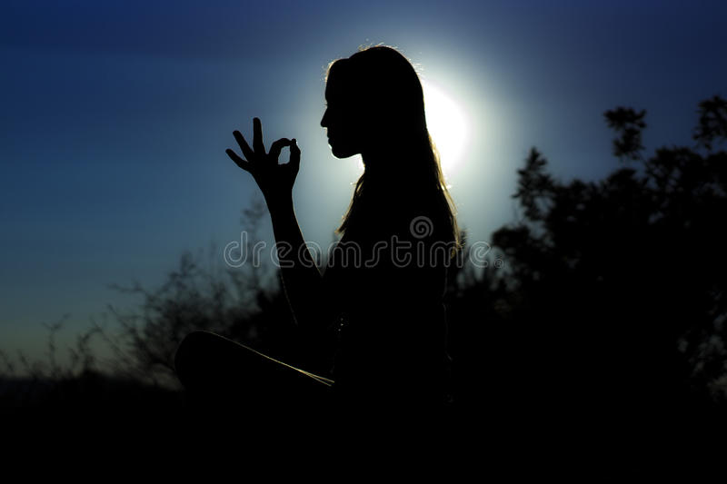 NIGHT GIRL SILHOUETTE royalty free stock images