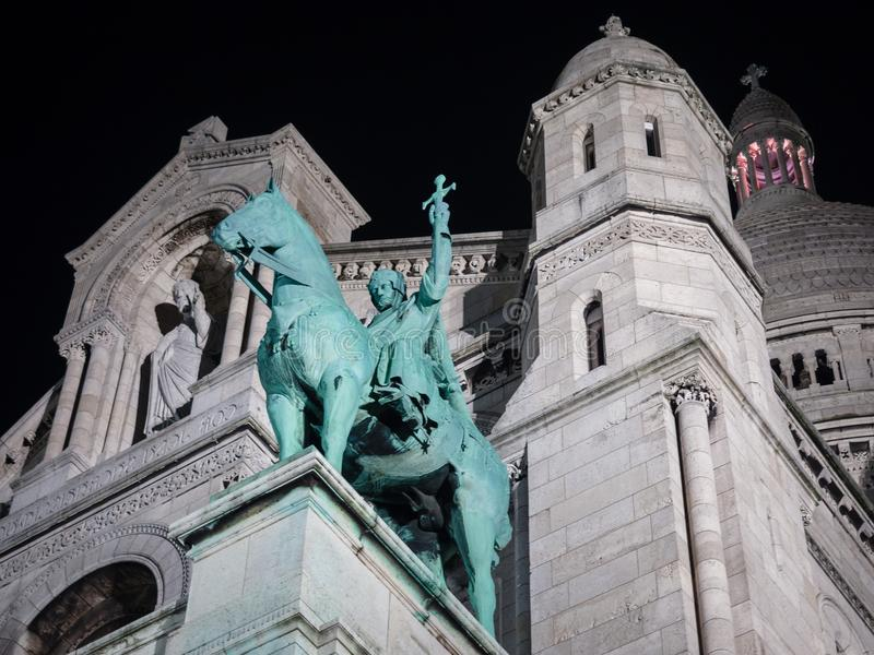 Night View of the Sacred Heart church in Montmartre, Paris. stock photos