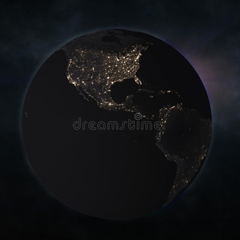 Night globe with city lights. Elements of this image furnished by NASA. 3d illustration royalty free illustration